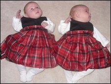 Eight-week-old twins, Bethany and Felicity