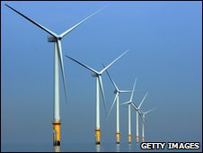 Turbines of the Burbo Bank off shore wind farm off Merseyside