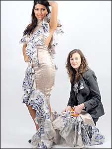 Miss Cardiff, Summer Ghanavati, models the dress made by Hannah Cooper (right)