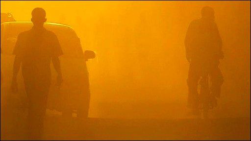 Road in Sudan seen through dust storm