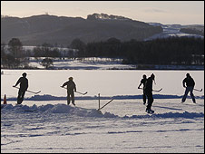 A game of ice hockey in Lochmaben (Pic by Ruth Delaney)