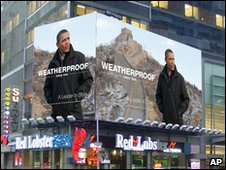 President Obama's unauthorised photo on a billboard in New York's Times Square