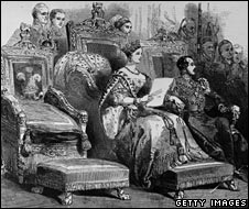 Queen Victoria makes her speech to parliament in January 1846