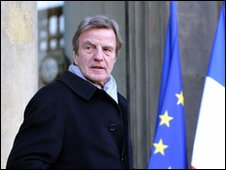 French Foreign Affairs minister Bernard Kouchner at Elysee Palace in Paris on Jan 5 2010