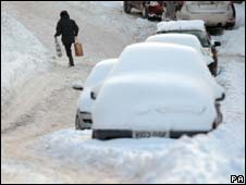 Snow blocks a road in Peebles, Scottish Borders