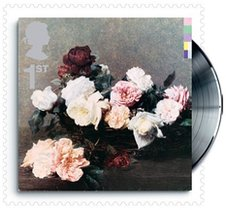 The Royal Mail stamp featuring New Order's Power, Corruption & Lies