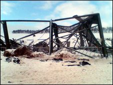 Collapsed cattle shed