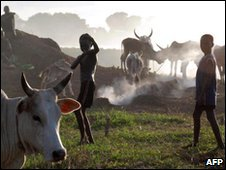 Nuer children playing in a cattle camp in Nassir, file image