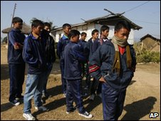 Former child soldiers wait for their release at their camp in Dudhauli,