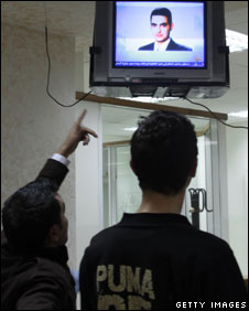 The Al-Jazeera satellite channel broadcasts a picture of Balawi