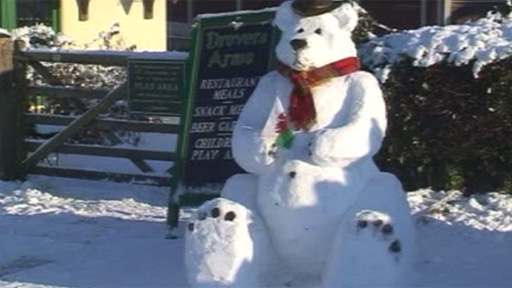 A snow sculpture at a pub in Denbighshire