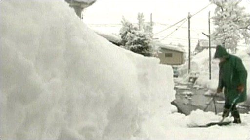Clearing snow in Japan