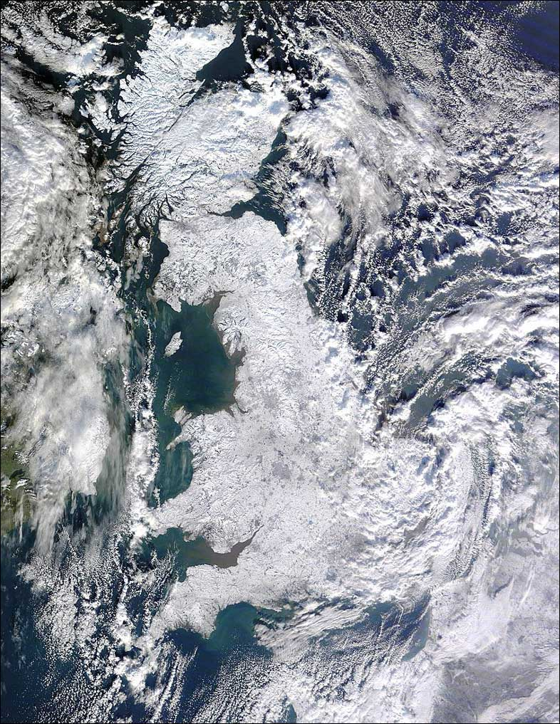 Snow-covered Great Britain