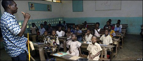 A teacher and his class in Bouake, Ivory Coast