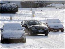Cars in the snow in Edinburgh
