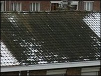 Roof where snow has melted