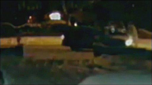CCTV image of van hitting snowman