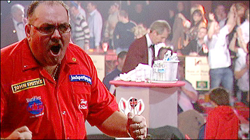 Tony O'Shea celebrates his quarter-final win against Robert Wagner