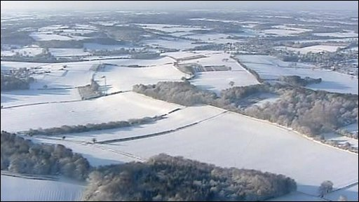 Snowy landscape in Oxfordshire