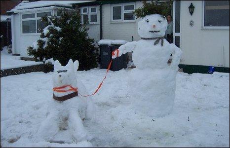 Snowdog and snowman
