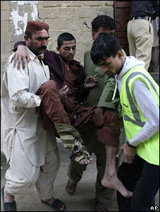A survivor of the explosion at a house in Karachi on 8 January