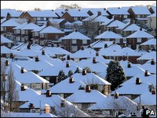 Snow-covered houses in Newcastle