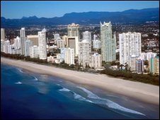 Ariel view of Gold Coast beach and apartments, Queensland, Australia