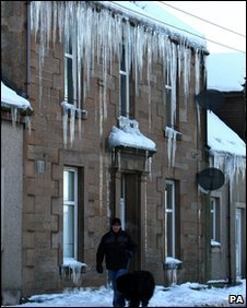 Icicles form at a house in Longridge, West Lothian as temperatures continued to fall throughout Britain