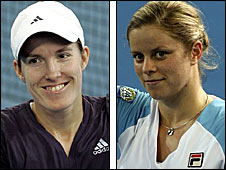 Justin Henin (left) and Kim Clijsters