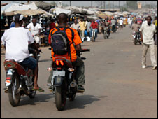 Motorbike taxis in Bouake