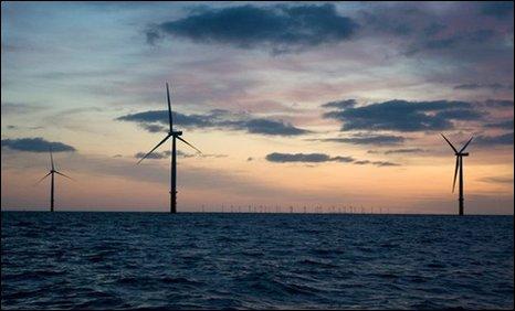 Fferm wynt Gwastadeddau'r Rhyl gan RWE Npower Renewables