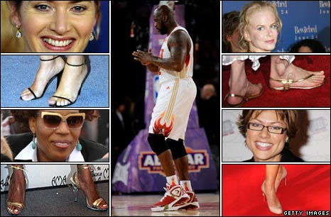 Faces clockwise from top left: Kate Winselt, Shaquille O'Neal, Nicole Kidman, Kate Silverton and Macy Gray