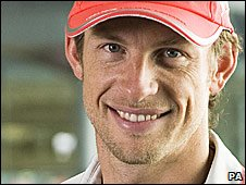 Jenson Button at the McLaren factory