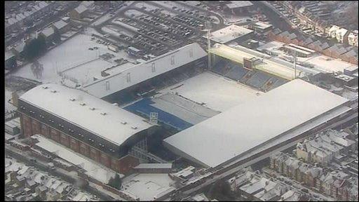 Sports stadium under snow