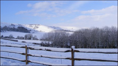 The Sussex Downs near Northease under snow