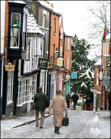 People walking on ice on Steep Hill, Lincoln