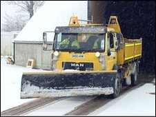 A gritting lorry in Suffolk