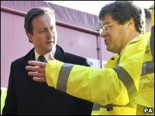 David Cameron at gritting depot
