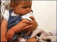 Child receiving vaccine