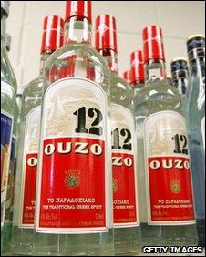 Bottles of ouzo