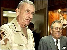 General Tommy Franks (R) and former US Defence Secretary Donald Rumsfeld (R)