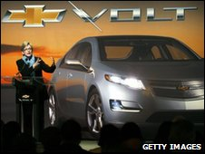 Michigan Governor Jennifer Granholm with the Chevrolet Volt
