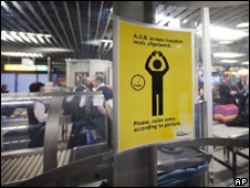 Instruction sign inside a body scanner at Schiphol airport