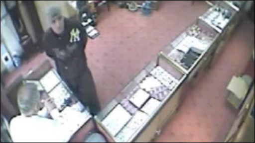 James Stevenson pictured on CCTV in a Swansea jeweller's shop