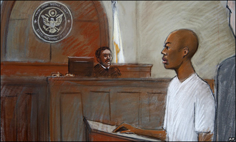 Sketch of Umar Farouk Abdulmutallab in court in Detroit (8 January 2010)