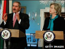 Jordanian Foreign Minister Nasser Judeh and US Secretary of State Hillary Clinton