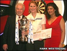Trina Gulliver (centre) with Lakeside owner Bob Potter and chief executive Barbara Leitch