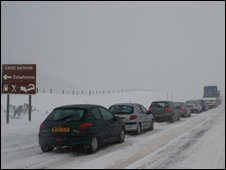 Cars stuck on the A9. Pic: John Clotworthy