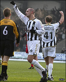 Billy Mehmet celebrates opening the scoring at St Mirren Park