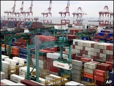 Containers in a port in Shanghai, China